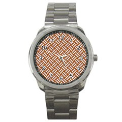 Woven2 White Marble & Rusted Metal Sport Metal Watch by trendistuff