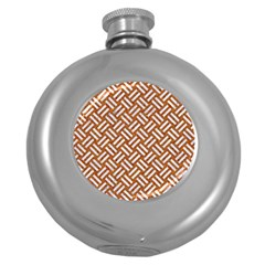 Woven2 White Marble & Rusted Metal Round Hip Flask (5 Oz) by trendistuff