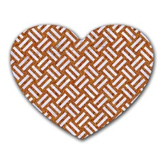 Woven2 White Marble & Rusted Metal Heart Mousepads