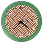 WOVEN2 WHITE MARBLE & RUSTED METAL Color Wall Clocks Front
