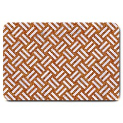 Woven2 White Marble & Rusted Metal Large Doormat  by trendistuff