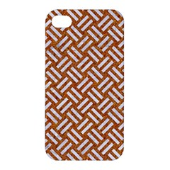 Woven2 White Marble & Rusted Metal Apple Iphone 4/4s Premium Hardshell Case by trendistuff