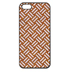 Woven2 White Marble & Rusted Metal Apple Iphone 5 Seamless Case (black) by trendistuff