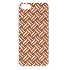 Woven2 White Marble & Rusted Metal Apple Iphone 5 Seamless Case (white) by trendistuff