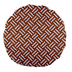 Woven2 White Marble & Rusted Metal Large 18  Premium Round Cushions by trendistuff