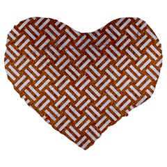 Woven2 White Marble & Rusted Metal Large 19  Premium Heart Shape Cushions