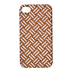 Woven2 White Marble & Rusted Metal Apple Iphone 4/4s Hardshell Case With Stand
