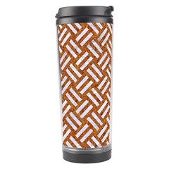 Woven2 White Marble & Rusted Metal Travel Tumbler by trendistuff