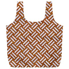 Woven2 White Marble & Rusted Metal Full Print Recycle Bags (l)  by trendistuff