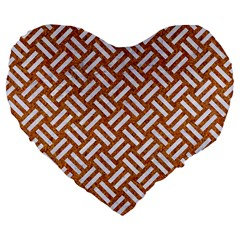 Woven2 White Marble & Rusted Metal Large 19  Premium Flano Heart Shape Cushions by trendistuff