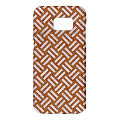Woven2 White Marble & Rusted Metal Samsung Galaxy S7 Edge Hardshell Case by trendistuff
