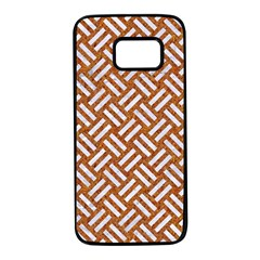 Woven2 White Marble & Rusted Metal Samsung Galaxy S7 Black Seamless Case by trendistuff