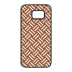 Woven2 White Marble & Rusted Metal Samsung Galaxy S7 Edge Black Seamless Case by trendistuff