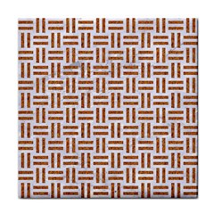 Woven1 White Marble & Rusted Metal (r) Tile Coasters by trendistuff