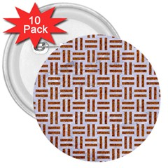 Woven1 White Marble & Rusted Metal (r) 3  Buttons (10 Pack)  by trendistuff