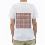 WOVEN1 WHITE MARBLE & RUSTED METAL (R) Men s T-Shirt (White) (Two Sided) Back