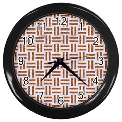 Woven1 White Marble & Rusted Metal (r) Wall Clocks (black) by trendistuff