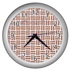 Woven1 White Marble & Rusted Metal (r) Wall Clocks (silver)  by trendistuff