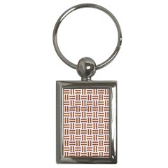 Woven1 White Marble & Rusted Metal (r) Key Chains (rectangle)  by trendistuff