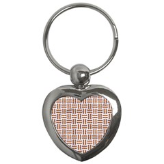 Woven1 White Marble & Rusted Metal (r) Key Chains (heart)  by trendistuff