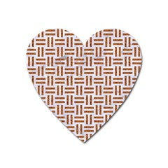 Woven1 White Marble & Rusted Metal (r) Heart Magnet by trendistuff