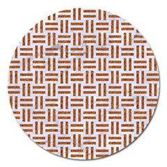Woven1 White Marble & Rusted Metal (r) Magnet 5  (round) by trendistuff