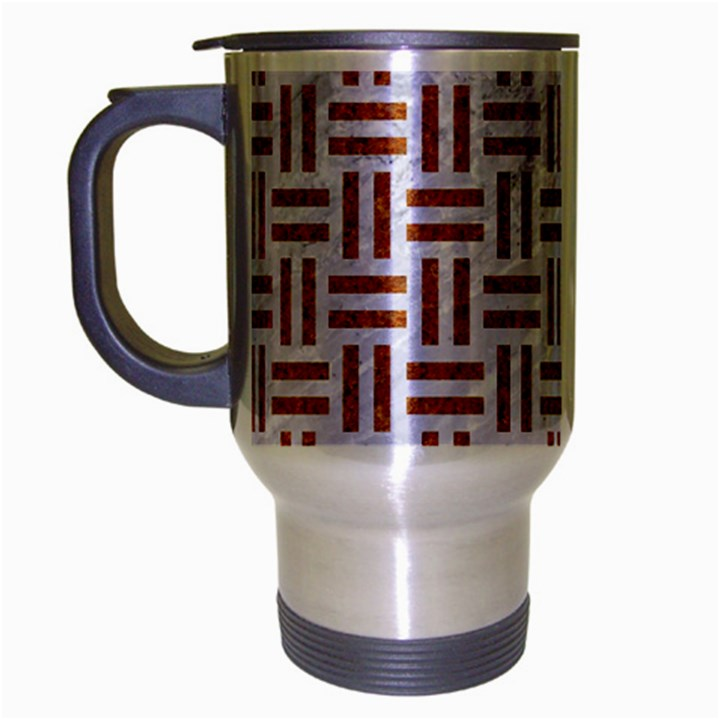 WOVEN1 WHITE MARBLE & RUSTED METAL (R) Travel Mug (Silver Gray)