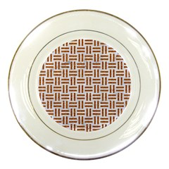 Woven1 White Marble & Rusted Metal (r) Porcelain Plates by trendistuff