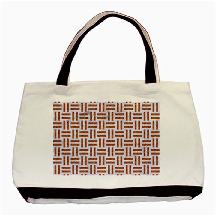 WOVEN1 WHITE MARBLE & RUSTED METAL (R) Basic Tote Bag