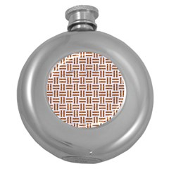 Woven1 White Marble & Rusted Metal (r) Round Hip Flask (5 Oz) by trendistuff
