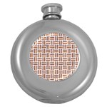 WOVEN1 WHITE MARBLE & RUSTED METAL (R) Round Hip Flask (5 oz) Front