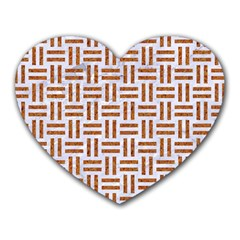 Woven1 White Marble & Rusted Metal (r) Heart Mousepads by trendistuff