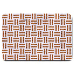 Woven1 White Marble & Rusted Metal (r) Large Doormat  by trendistuff