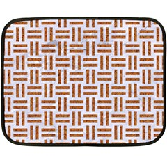 Woven1 White Marble & Rusted Metal (r) Fleece Blanket (mini) by trendistuff