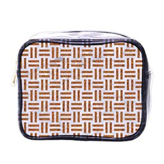 Woven1 White Marble & Rusted Metal (r) Mini Toiletries Bags by trendistuff