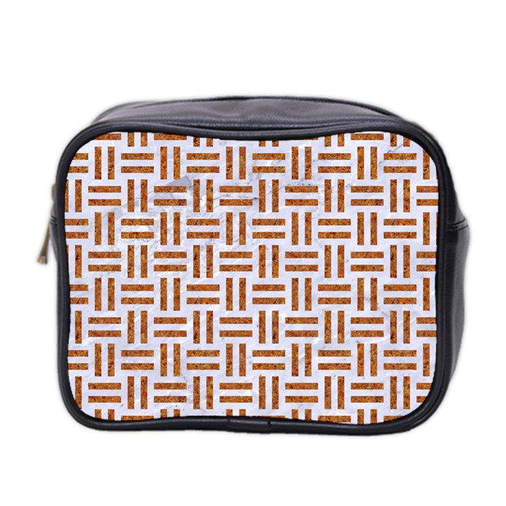 WOVEN1 WHITE MARBLE & RUSTED METAL (R) Mini Toiletries Bag 2-Side