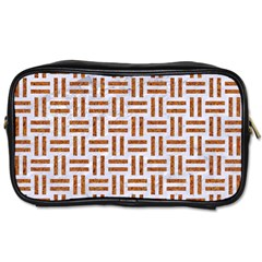 Woven1 White Marble & Rusted Metal (r) Toiletries Bags by trendistuff