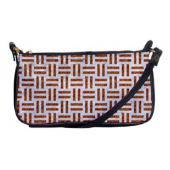 Woven1 White Marble & Rusted Metal (r) Shoulder Clutch Bags by trendistuff