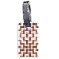 Woven1 White Marble & Rusted Metal (r) Luggage Tags (one Side)  by trendistuff
