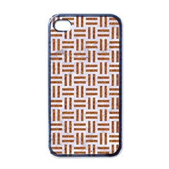 Woven1 White Marble & Rusted Metal (r) Apple Iphone 4 Case (black) by trendistuff