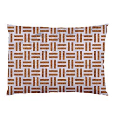 Woven1 White Marble & Rusted Metal (r) Pillow Case (two Sides) by trendistuff