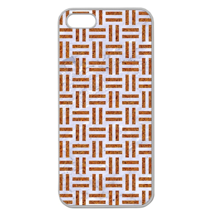 WOVEN1 WHITE MARBLE & RUSTED METAL (R) Apple Seamless iPhone 5 Case (Clear)