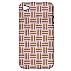Woven1 White Marble & Rusted Metal (r) Apple Iphone 4/4s Hardshell Case (pc+silicone) by trendistuff