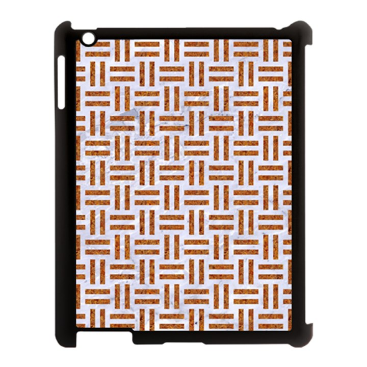 WOVEN1 WHITE MARBLE & RUSTED METAL (R) Apple iPad 3/4 Case (Black)