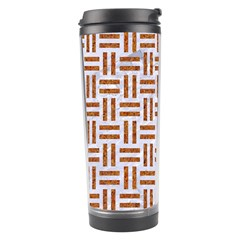 Woven1 White Marble & Rusted Metal (r) Travel Tumbler by trendistuff