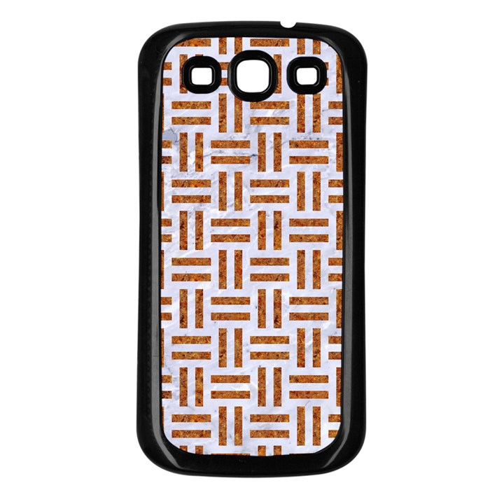 WOVEN1 WHITE MARBLE & RUSTED METAL (R) Samsung Galaxy S3 Back Case (Black)