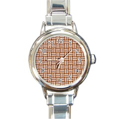 WOVEN1 WHITE MARBLE & RUSTED METAL Round Italian Charm Watch