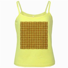 WOVEN1 WHITE MARBLE & RUSTED METAL Yellow Spaghetti Tank