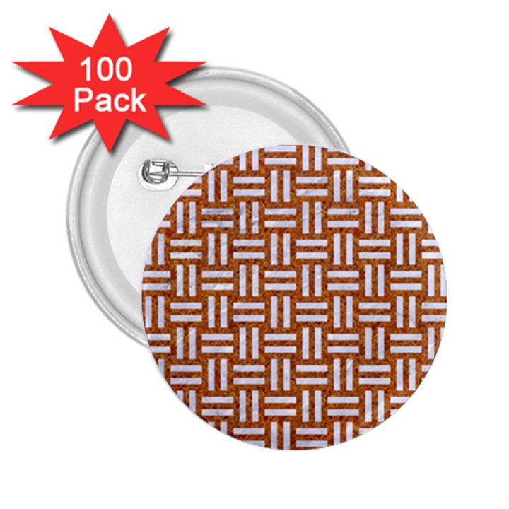 WOVEN1 WHITE MARBLE & RUSTED METAL 2.25  Buttons (100 pack)