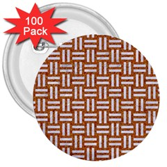 WOVEN1 WHITE MARBLE & RUSTED METAL 3  Buttons (100 pack)